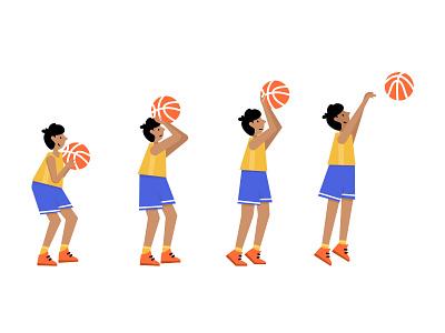 Free throw basketball ball sport basket player boy child basketball vector illustration minimal flat