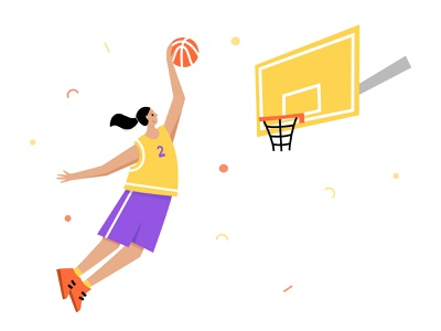 Girls like sport dribble ball sport basket player character basketball vector illustration minimal flat