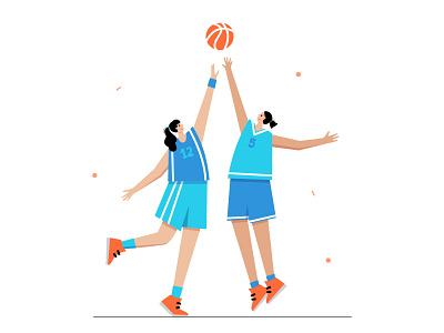 Game moment woman game dribble ball sport player character basketball vector illustration minimal flat