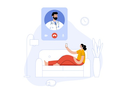 Online clinic concept cat consultation video call videochat app online clinic doctor concept home medical man woman character vector minimal flat illustration
