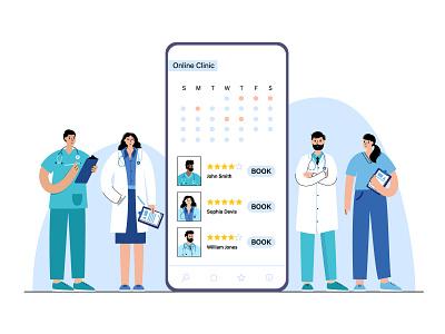 Online clinic illustration virtual booking smartphone phone health telemedicine telehealth nurse clinic doctor app online medical woman man character vector minimal flat illustration