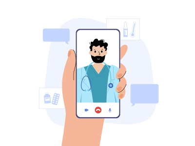 Video chat with doctor app hospital therapy physician telehealth health virtual clinic consultation phone smartphone online medical man character vector flat minimal illustration video chat
