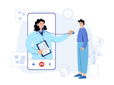 Consultation with doctor online stethoscope medical app phone app health healthcare virtual phone smartphone diagnostic consultation doctor online medical woman man character vector minimal flat illustration