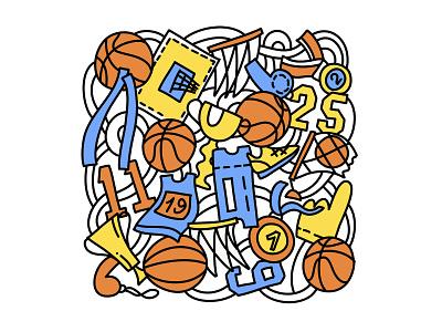 Basketball competition background basket sport win ball vector line illustration doodle flat basketball