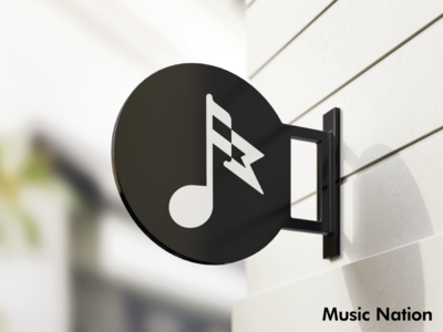 """Music Nation"" Mockup flag black  white music sign mockup sign mockup illustrator modern icon monogram minimalist logo design identity design branding brand identity logos logo"