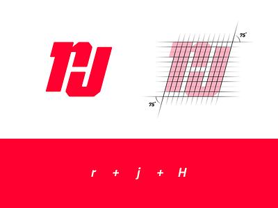 """r+j+H"" Monogram monogram logo red logo negative space negative space logo letter h letter j letter r monogram illustration minimalist logo design identity design branding brand identity logos logo"