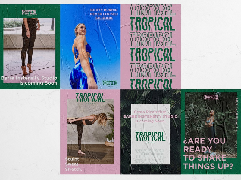 Tropical Barre Posters fitness center design fitness branding identity branding tropical flyer tropical barre