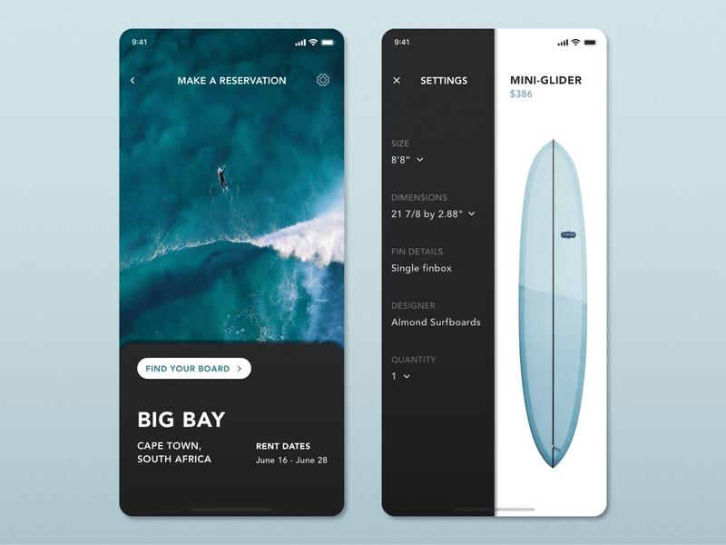 Daily UI I Settings I Surfboard App settings mobile ui mobile minimal ux ui surfboard surf app surf daily100 dailyui app