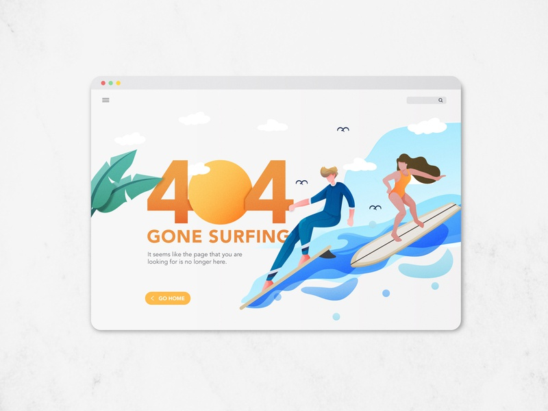 Daily UI - 404 Page waves beach surfboards surf gone surfing ui design ui ux ui page not found landing page 404 error illustration sketch dailyuichallenge dailyui 008 dailyui 404 404 page
