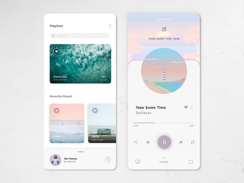 Music player surfaces ui design ui music player music app music mobile ui surf minimalist dailyui flat design daily ui app