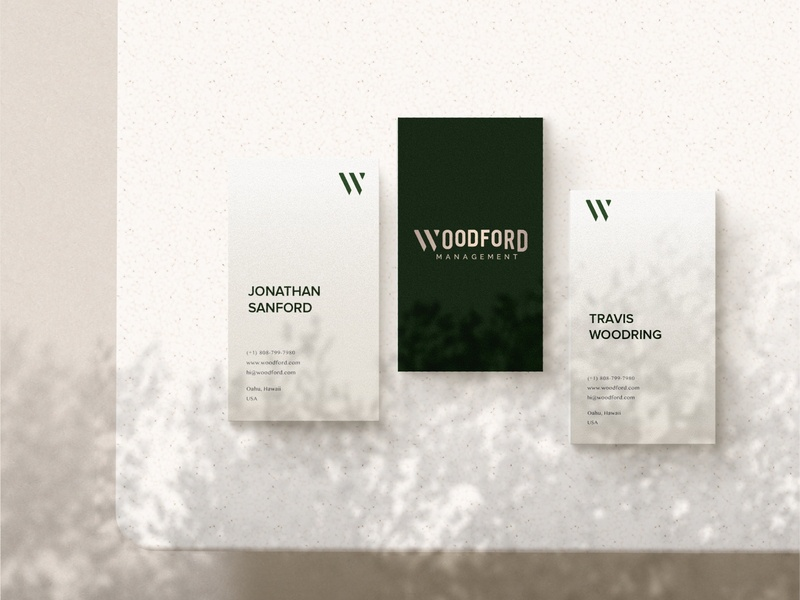 Business Cards Woodford brand identity business cards management typographic typography logo minimalist branding