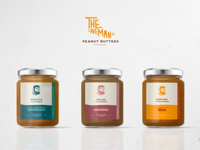 Peanut Butter The Caveman packaging design jars branding minimal tasty label packaging label design peanut butter