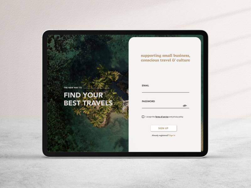 Sign up Page travel travel app ui design uiux log in form app design app web design web sign up design minimalist ui daily ui