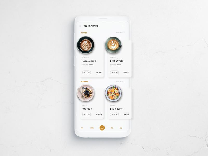 Cafe e-commerce mobile ui mobile design ecommerce uiux ui design cafe coffee shop coffee design flatdesign app dailyui minimalist ui