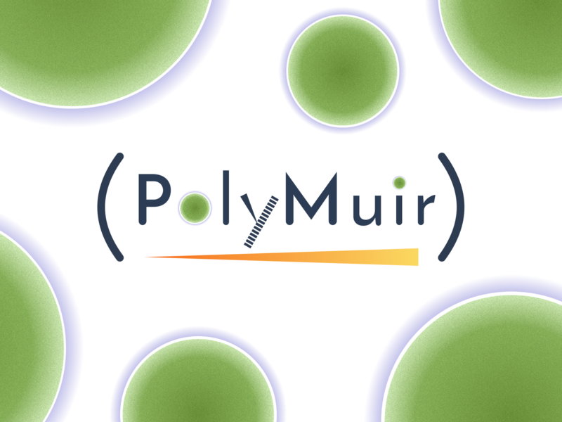 PolyMuir plastic purple chemistry orange green polymer algae science word as image word logo digital art