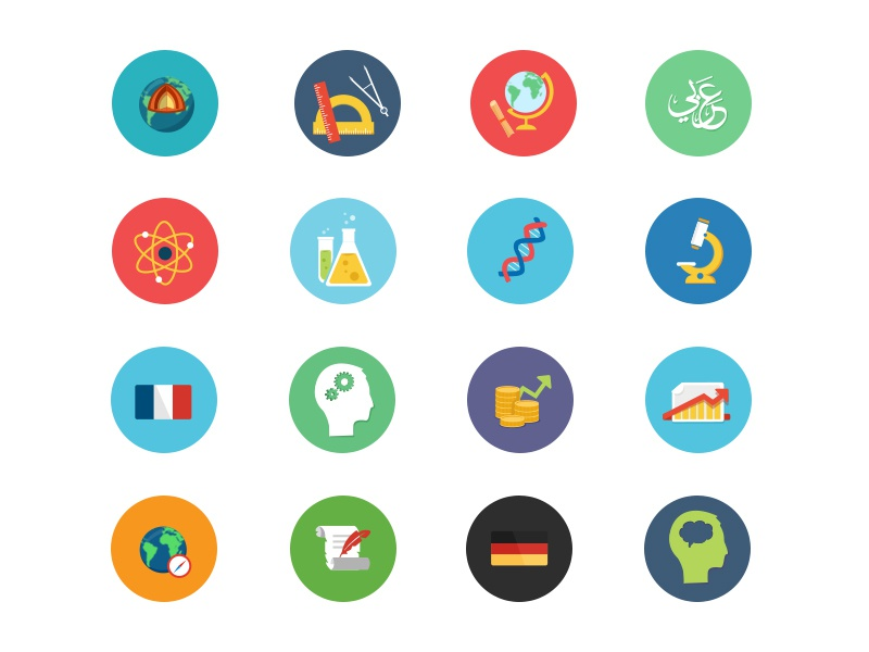 Flat Icons flat icons education clean study subjects