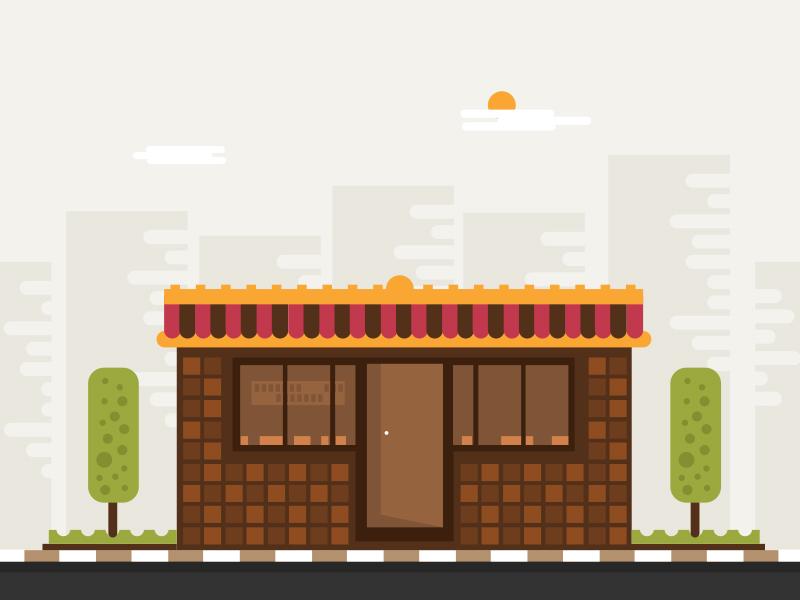 Little Restaurant restaurant flat landscape tree sun shop