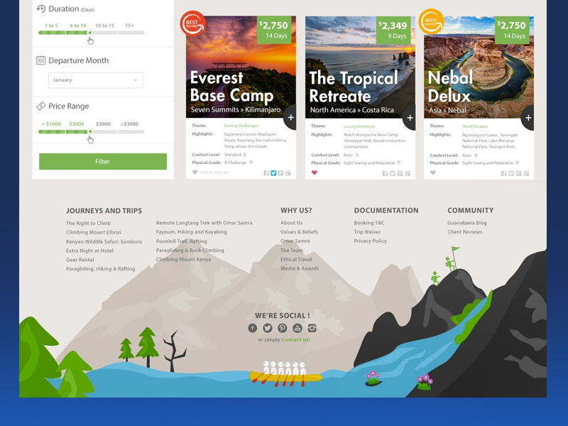 Footer - Listing Page footer ui-ux illustrations boat trees landscape trips adventure flat filter search box
