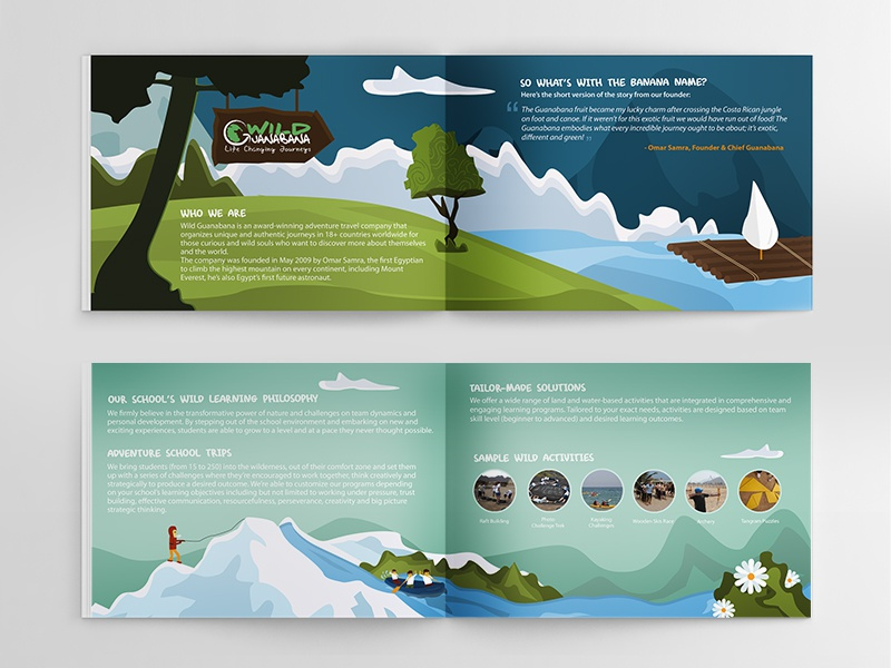Wild Adventure Brochure brochure adventure illustration tree landscape travel boat wild booklet