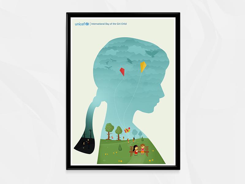 UNICEF - Poster Design education freedom birds female play landscape kites child girl poster unicef