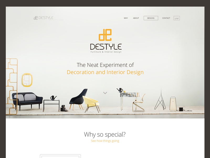 Destyle Landing Page ui ux landing page product style minimalistic decoration interior furniture simple clean web