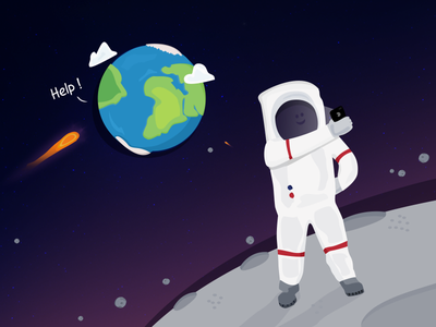 Selfie ! planets astronaut help earth illustration funny selfie space