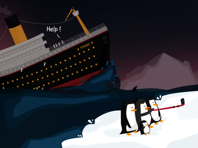Titanic Selfie ! sea ice help illustration penguin ship titanic selfie