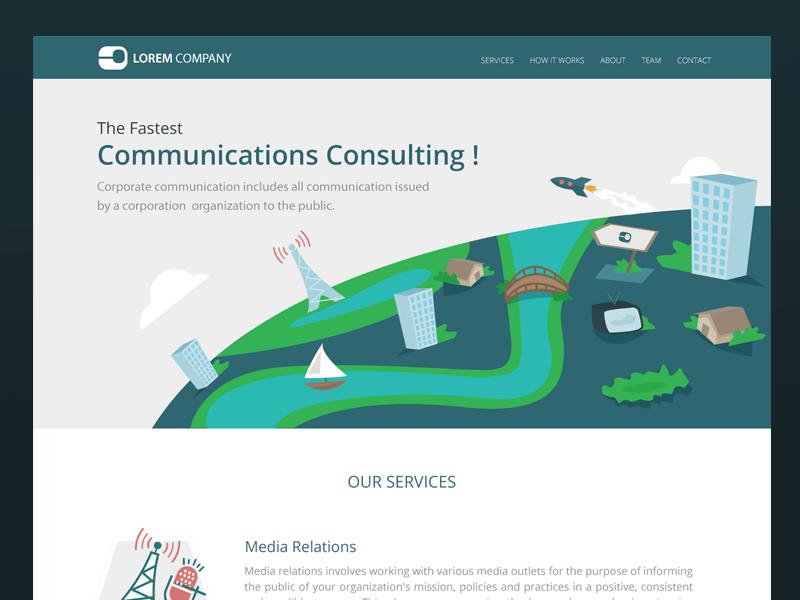 Landing Page header rocket (ui-ux) consulting communcations page) (landing illustration