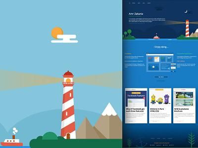 My Website - Landing Page animation sky plants sea portfolio boat sun lighthouse (html-css) landscape page) (landing