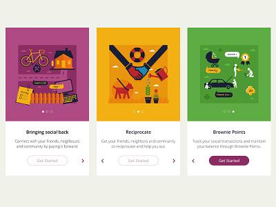Walk Through Screens walk through help social points brownie mobile illustrations tutorial
