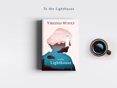Lighthouse virginia woolf double exposure book cover to the lighthouse landscape illustration covers books redesign lightouse
