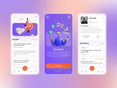Freelance — Mobile App Concept purple 3d blender stats chat mobile app icons ios illustration freelance graphic job clean gradient orange concept blur trend 2021