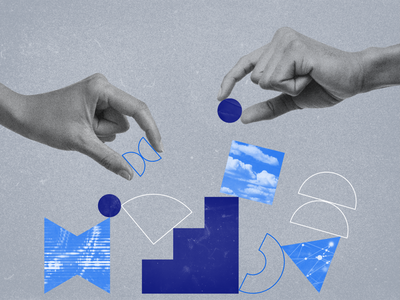 Shape, color, and texture exploration corporate geometry geometric graphic design blue papercut shapes texture collage branding illustration design