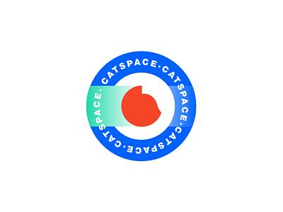 Catspace white green blue black helvetica space pet cat circle logo