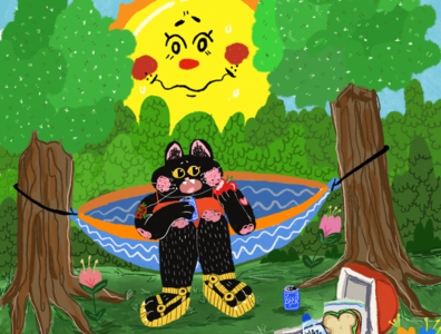 fat cat snackin fun cute graphicdesign illustrator designer artist art procreate color illustration design