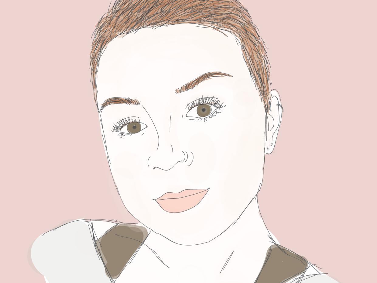 portrait of the artist as a bald girl portrait design procreate app international womens day fashion blog fashion line drawing minimal hand drawn ipad wacom sketch illustration