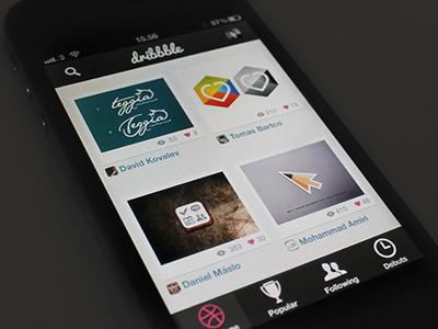 Dribbble for iPhone dribbble app iphone retina design ui noise interface app design gui