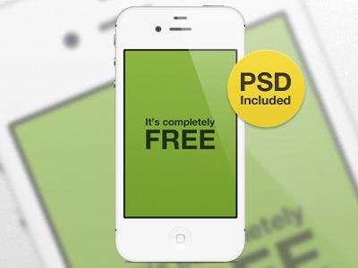 Freebie - White iPhone 4s iphone freebie free device psd apple ios vector mobile presentation white