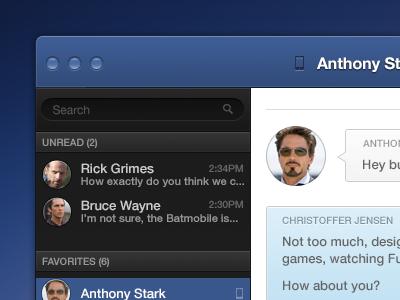 Facebook Messenger App app mac ui facebook im messenger chat gui
