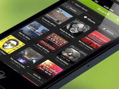 Spotify App - Album search search spotify app ios iphone application green dark black grey music album