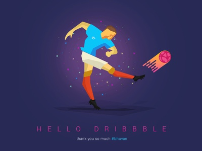 Hello Dribbble debut first shot firstshot hello dribbble football player sports