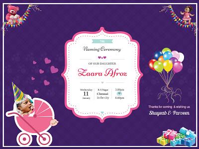 Naming ceremony of my niece - Zaara Afroz party design card invitation zaara zaaraafroz ceremony namingceremony