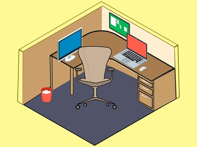 My working desk, Isometric view (Cubicle) isometric thunderbolt mac chair cubicle desk workingdesk