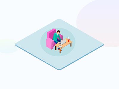 Working with Laptop - Isometric sketchapp isometric man laptop illustration