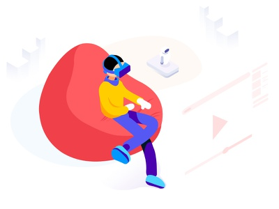 Augumented Reality - Isometric view minimalistic video ui illustration robot couch man isometric reality augumented