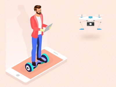 Businessman experimenting a drone quadrocopter illustration 3d board hover working isometric quadrocopter drone driving mobile businessman