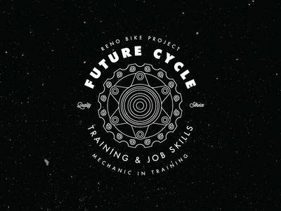 RBP Future Cycle Badge apparel graphic design reno wheel mechanic hub bicycle badge