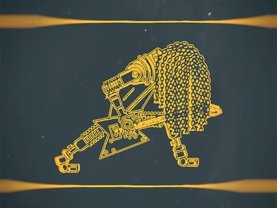 Robotic Rocker hair metal classic bokeh illustration line art music metal rock and roll packaging robot