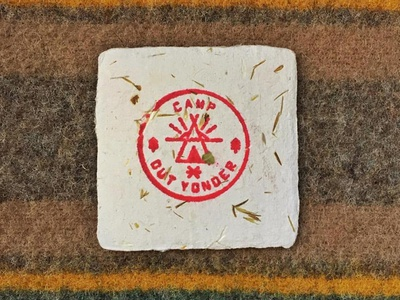 Camp Out Yonder Business Cards embossed rubber stamp camp tipi wool craft paper hand made business card camping badge