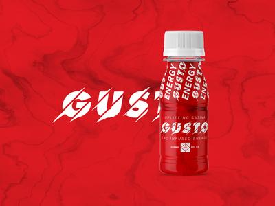Gusto Energy energy drink dispensary thc marijuana logo product identity packaging